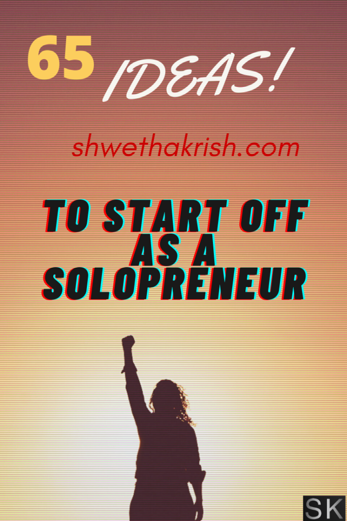 "data-pin-description=""a lady with one hand up and 65 Ideas to start off as a solopreneur"""