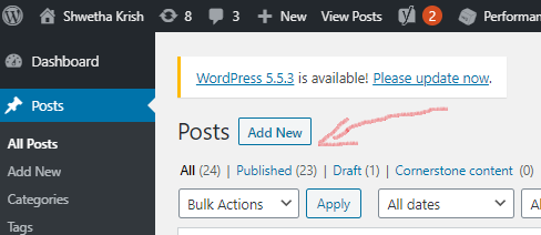 Screenshot of the Add New Posts in WordPress Dashboard -ShwethaKrish